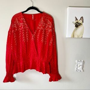 Free People Counting Stars Red & Gold Blouse